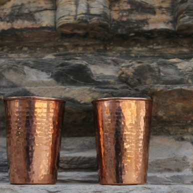 De Kulture Works Hand Hammered Pure Copper Cup Extra Shot Tumbler Glass Set of 2